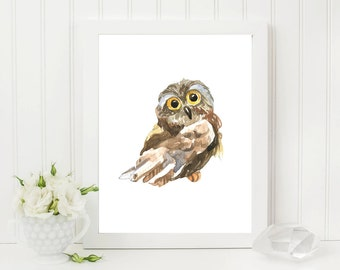 Owl Print, Woodlands Decor, Wilderness Wall Art, Watercolor, Animal Print, Printable Art, Minimal, Woodlands Owl