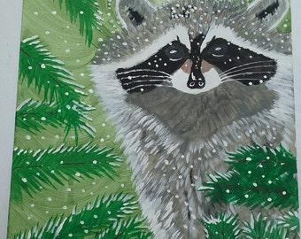 Adorable Raccoon in Snow Pine Tree Original Acrylic Painting 8 x 10