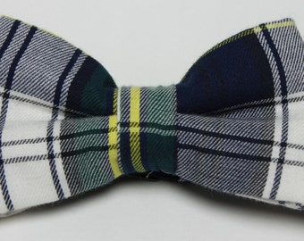 Blue and White Plaid Boy's Bow Tie