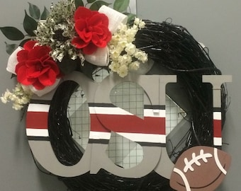 Ohio State University OSU Football Floral and Hand Painted Monogram Grapevine Wreath with Silk and Felt Flowers