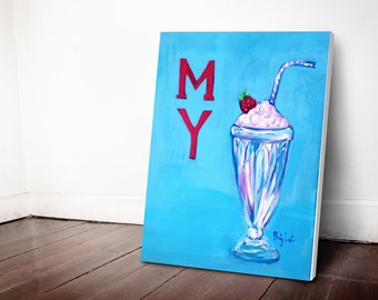 "Original Acrylic Painting ""My Milkshake"" 16x20 on Stretched Canvas - FREE US SHIPPING"