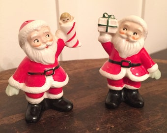 Mid Century Norcrest Japan Twin Santa Claus Salt and Pepper Shakers | Christmas in July