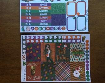 Fall Feeling Mini Weekly Set ECLP Horz and Vert Planner Stickers - Full Week ECLP Mambi Inkwell Press Filofax Kikki K Happy Autumn