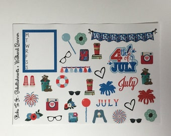 Red White Blue Build Your Own Kit Embellishment Weekend Banner Erin Condren ECLP Mambi Inkwell Press Filofax Kikki K Happy Life Stickers