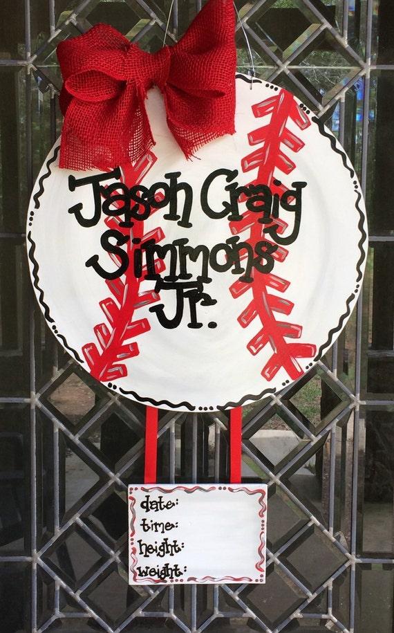 Baseball Baby Door Hanger
