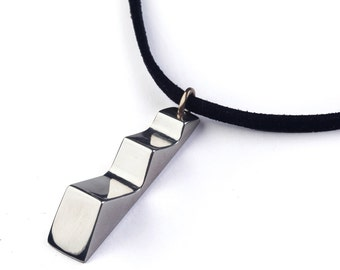 STEPS Sterling Silver Mens Pendant Necklace, Silver Pendant Necklace for Men, Geometric Pendant, Mens Jewelry, Contemporary Necklace