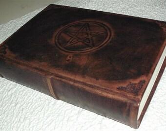 HANDMADE LEATHER JOURNAL, blank book of shadows, embossed pentacle