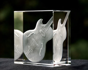 Guitar - engraved glass