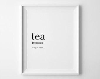 Tea Poster, Tea Printable, Tea Gifts, Tea Lover Gift, Tea Definition Print, Poster Printable, Tea Cup Definition, Tea Cup Print