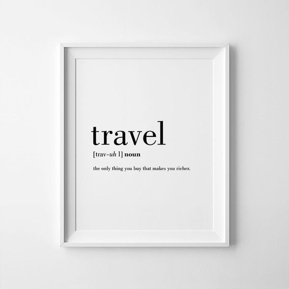 Travel definition printable travel quote word poster travel for Buy art posters online