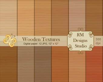 SALE 50%, Wooden Textures, Set of 12 Digital Papers, Color, Pattern, Pack,  Illustration, CL0016