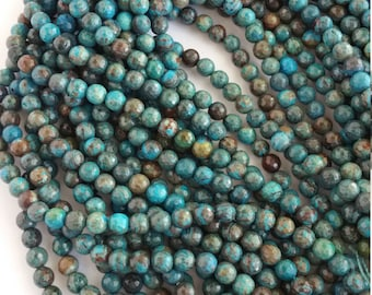 Blue Sky Jasper loose beads 6mm faceted turquoise blue and brown colors in these stones