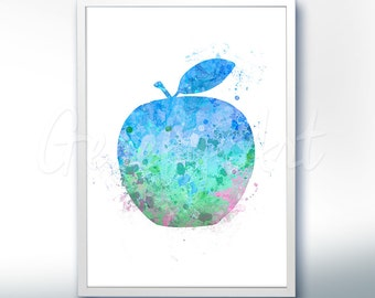 Apple Watercolor Art Print  - Fruit Watercolor Art Painting - Apple Poster - Kitchen Decor - Home Decor - House Warming Gift [2]