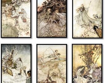 Fairy Poetry Book Vintage Illustrations Set of 6 Art Prints Fairies, Pixes, Elves Arthur Rackham