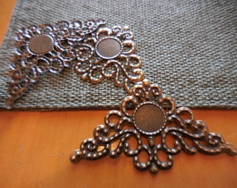 "20 Filigree components Antique copper 1.25"" x 2"" repurpose upcycle"