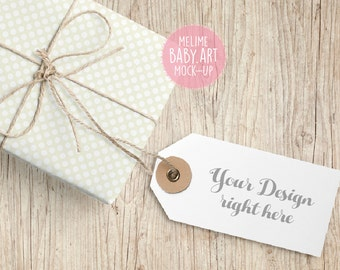 Tags Mock-Up, Neutral Gift Tags photography Mock Up, Polka Dots Neutral Tags Mock Up, Set of Two Gift Tags Stock, Blank Tag
