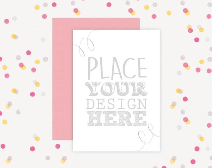 Party Invitation Mockup, Confetti background Mockup, 5x7 Cards Mockup, Party Invitate Mockup, Cards Mockups (5x7.Confetti2)