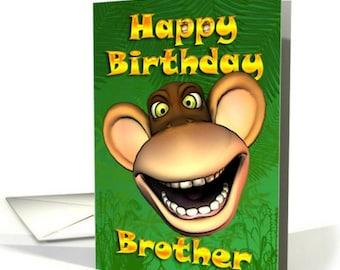 Monkey Face, Monkey Birthday Card, Brother, Grandson, Dad, Godson, Uncle Birthday card, Monkey Birthday