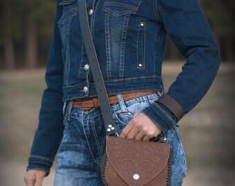 Crossbody bag, Medieval Leather Bag with embossing, Genuine leather Shoulder bag, Women's bag, Wedding Gift