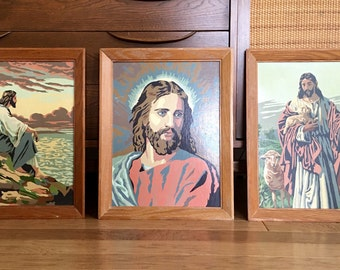 Lot of 3 Vintage Framed Religious Paint By Number Paintings Jesus Mid Century 12x16