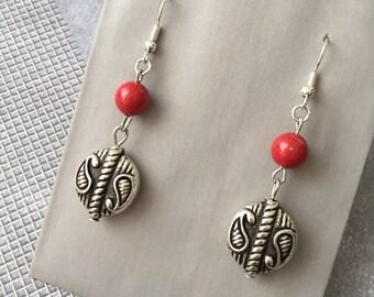 Earrings red Bohemian and silver metal