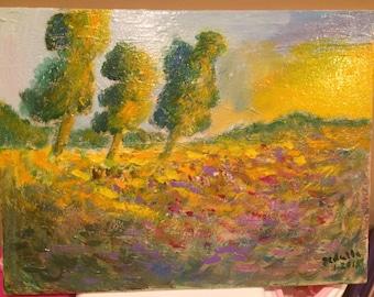 Meadow, Three trees and Sun