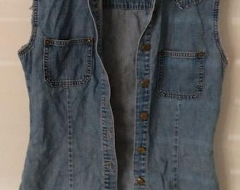 Vintage denim cut off vest