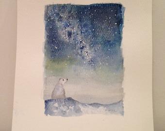 Watercolour ORIGINAL ART - polar bear and Milky Way stars