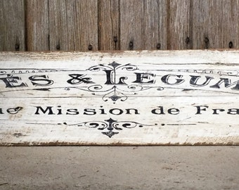 LARGE Cafe & Legumes Recycled Timber Sign - Vintage French Cafe Sign