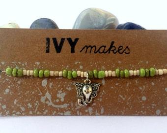 Green & Cream Elephant Bracelet