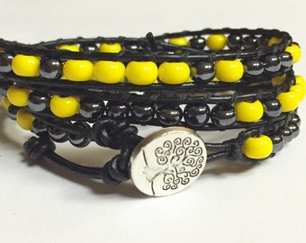 Leather Wrap Bracelet, Yellow and Hematite Glass Beaded Leather Triple Wrap Tree of Life Bracelet