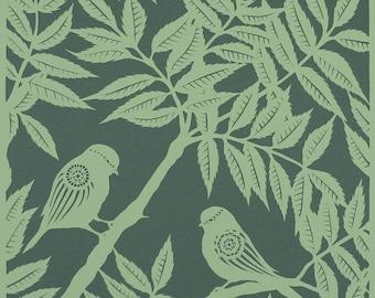 Bird papercut - Bluetits in Beech Trees - print from an original handmade art work.