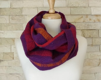 Felted Scarf - Red, Purple and Orange Striped Felted Cirlce Scarf