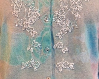 Pale beige turquoise beaded cashmere sweater tie dye momosohovintage mother of the bride boho chic sweaters vintage