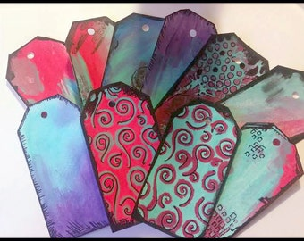 10 Abstract Tags - Ready to Ship