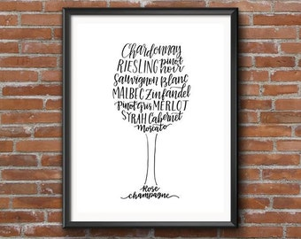 Wine outline | Hand-lettered Calligraphy print of wine varieties in wine glass outline | White and Red wines | Gift for wine lovers!