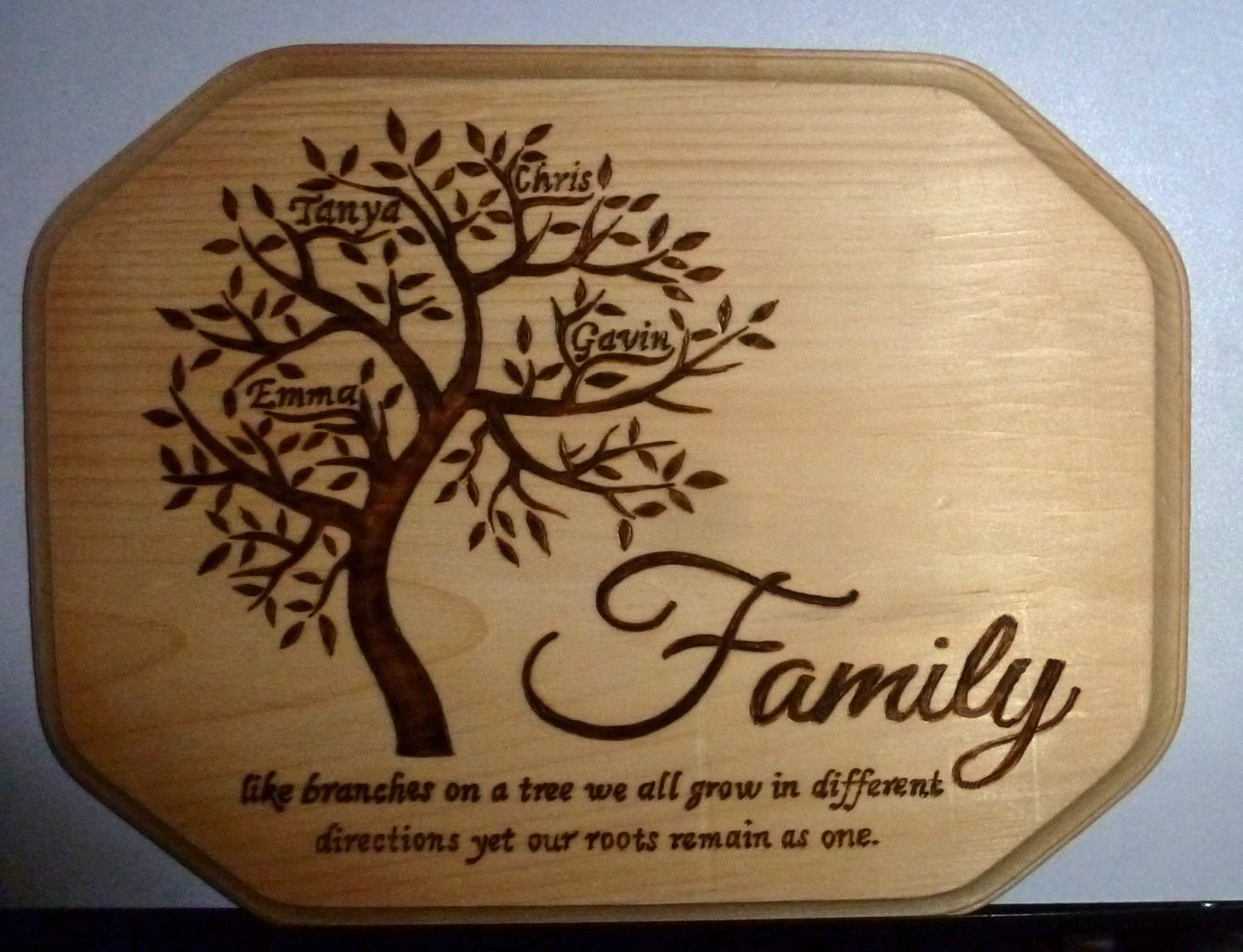 Personalized Family Tree Pyrography Plaque Wood Burning Art