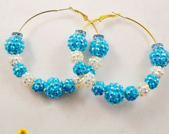 Bling Blue and White Hoop Earrings - 2.5in - Basketball Wives Style
