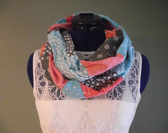 Pink White and Grey, Cotton Patchwork Infinity Scarf, Adult, Lightweight