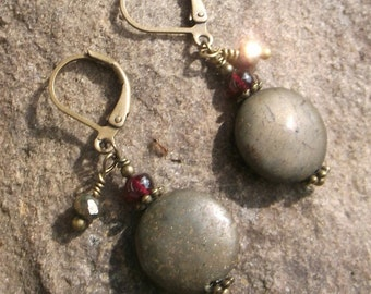 Pyrite Earrings with Garnet Accents on Bronze Leverback Natural Gemstone