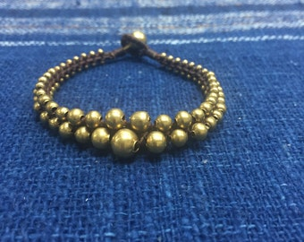 Gold beads bracelet, three rows of gold beads bracelet, boho bracelet B-45
