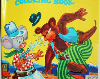 Vintage Cartoon coloring book - unused - vintage coloring pages - Playmore - Merry Mouse Coloring Book - Summer Activity