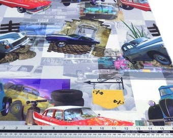 Vintage American Cars Mustang 100% Cotton High Quality Fabric Material Sold by the Metre