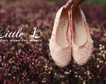 Wedding Shoes - Bridal Peach Silver Heels or Flat Custom