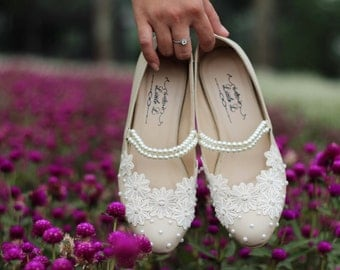 Wedding Shoes - Custom Pearl White Heel With Lace and Pearl