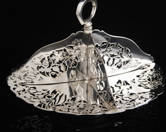 PRETTY silver  plated divided dish