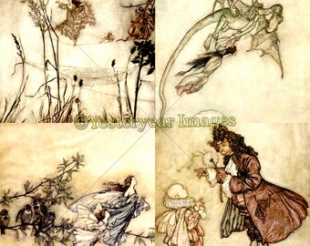 Vintage PETER PAN in Kensington Gardens Illustrations by Arthur Rackham - Printable Digital Images - 3 PNG Files 4x4. 2x2. 1x1