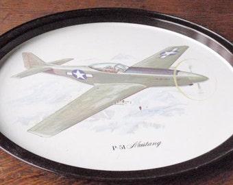 P-51 Mustang Vintage Tin Tray