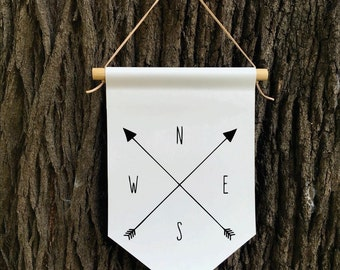 Compass Wall Banner, NSEW, Affirmation Banner, Children's Decor, Kids room, Kids Decor, Quote Banner, Nursery Decor, Baby Shower