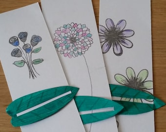 Flowers bookmark set - with linemark